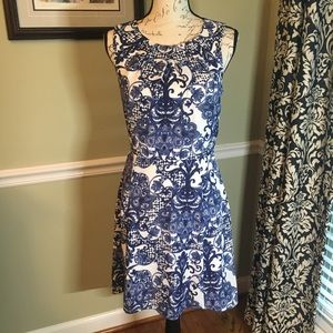 Charming Charlie White & Blue Sleeveless Dress
